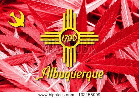 Flag Of Albuquerque, New Mexico, On Cannabis Background