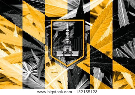 Flag Of Baltimore, Maryland, On Cannabis Background