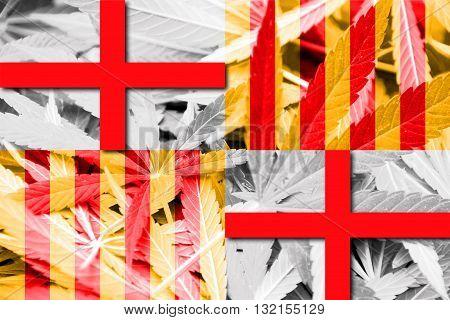 Flag of Barcelona on cannabis background. Drug policy. Legalization of marijuana