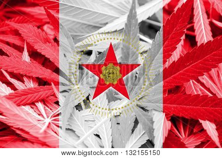 Flag Of Birmingham, Alabama, On Cannabis Background