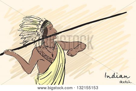 Apache Indian warrior throwing a spear. Corporate identity sketch. Vector illustration