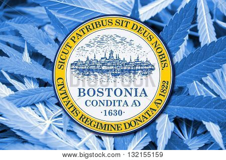 Flag Of Boston, Massachusetts, On Cannabis Background