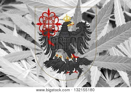 Flag Of Buenos Aires, On Cannabis Background