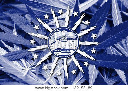 Flag Of Buffalo, New York, On Cannabis Background