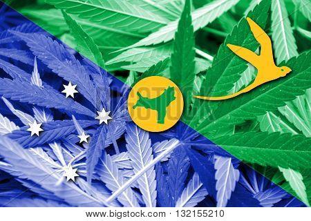Flag Of Christmas Island, On Cannabis Background