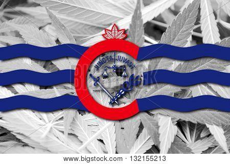 Flag Of Cincinnati, Ohio, On Cannabis Background