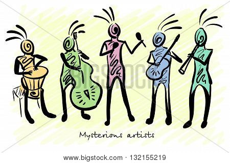 Abstract mysterious musicians. Corporate identity sketch. Vector illustration