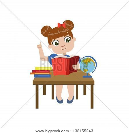 Girl Brhing The Desk Reading Colorful Simple Design Vector Drawing Isolated On White Background