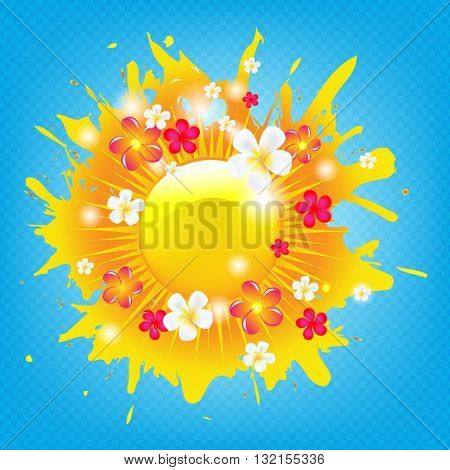 Sunburst Banner With Flowers, With Gradient Mesh, Vector Illustration