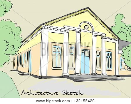 architectural structure with columns. Old school, club, house of culture. Vector illustration