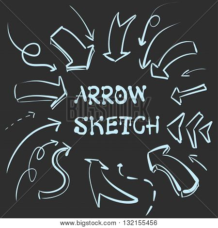 A large set of hand-drawn vintage arrows. Form style. It can be used for website design. Vector illustration