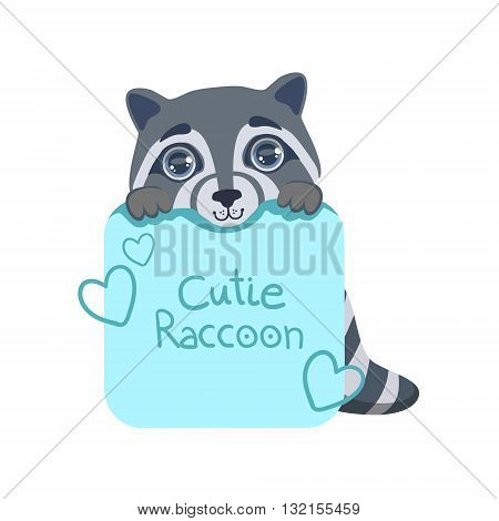 Boy Raccoon With Paper Sign Colorful Illustration In Cute Girly Cartoon Style Isolated On White Background