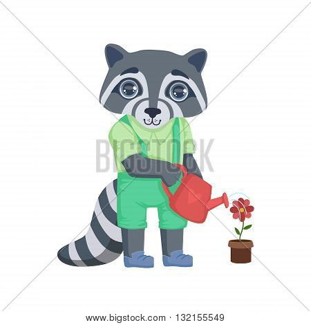 Boy Raccoon Watering The Flower Colorful Illustration In Cute Girly Cartoon Style Isolated On White Background