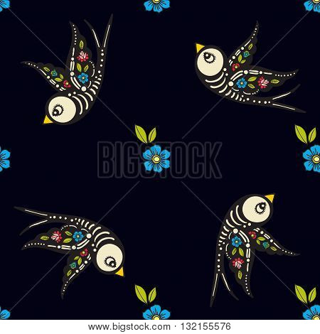 Swallows and flowers in an old-style tattoo. The day of the Dead. A seamless pattern on a black background. Texture for vintage scrapbooking wrapping paper textiles web page textile wallpapers surface design fashion