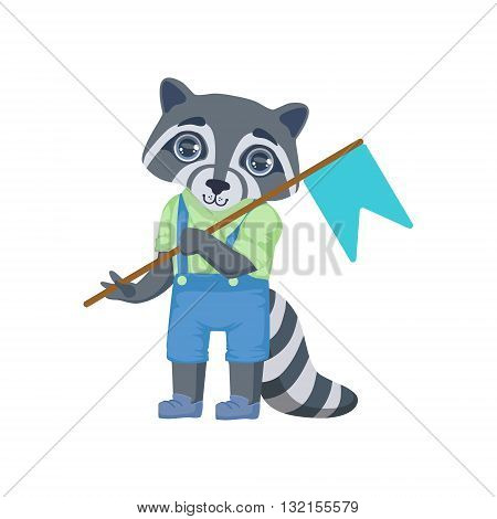 Boy Raccoon With Flag Colorful Illustration In Cute Girly Cartoon Style Isolated On White Background