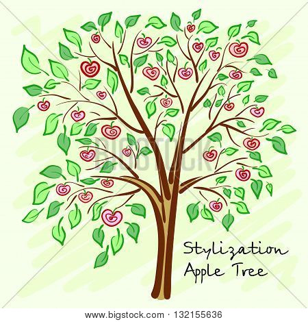 Stylized apple tree with lonely mysterious fruits. Vector illustration