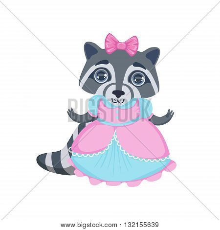 Girl Raccoon In Fancy Dress Colorful Illustration In Cute Girly Cartoon Style Isolated On White Background