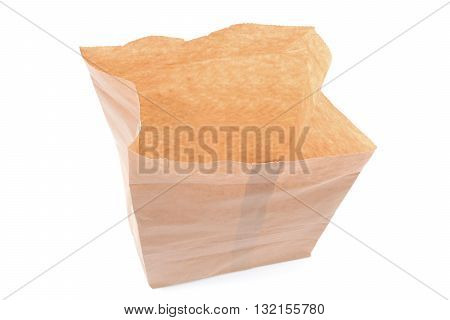 open brown paper bag isolated on a white background