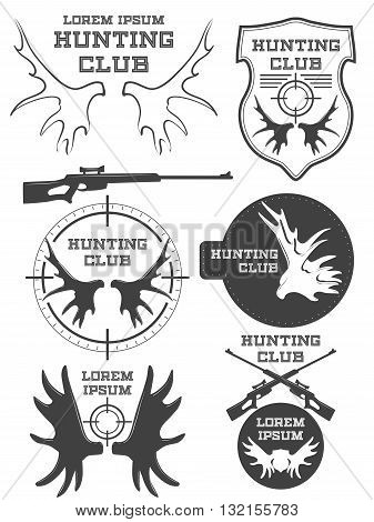 Set of vintage hunting logo, labels and badges. Deer. Horn. Weapon. Vector illustration