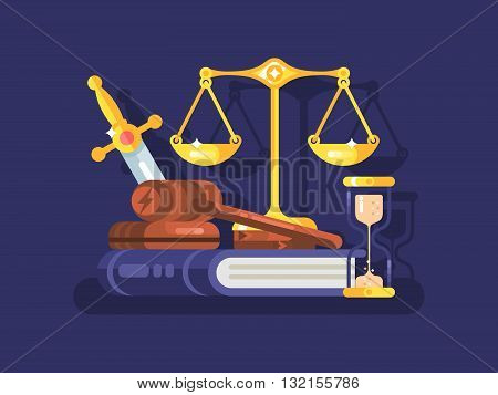 Court and law concept. Legal justice and gavel legislation authority, vector illustration