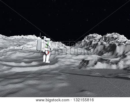 Lunar Astronaut 3D Render