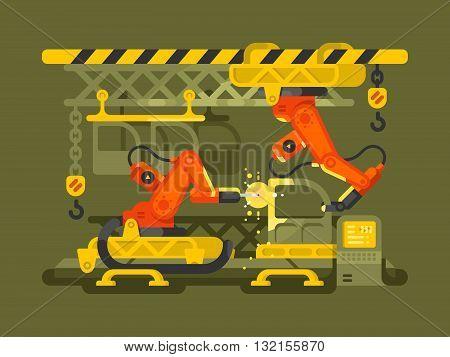 Automatic production using robotics. Production factory automation equipment, vector illustration