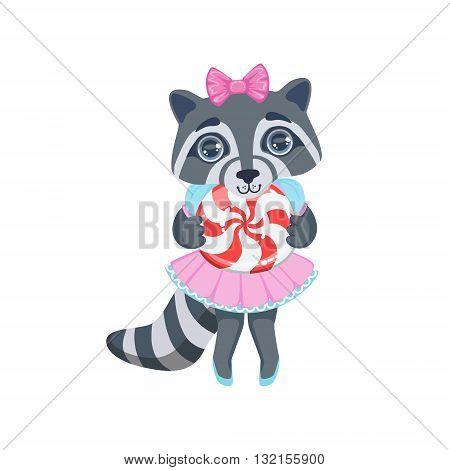 Girl Raccoon With Candy Colorful Illustration In Cute Girly Cartoon Style Isolated On White Background