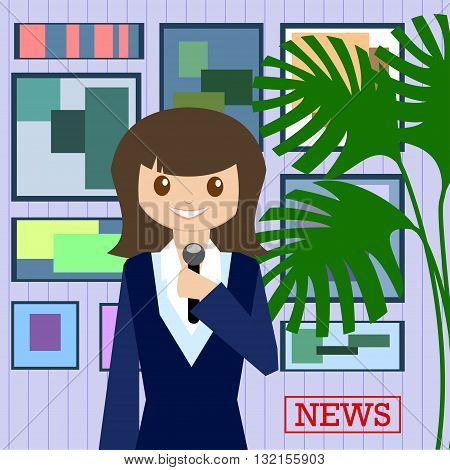 Woman journalist with microphone is a news service on the background of paintings and plants. Flat design. Vector illustration