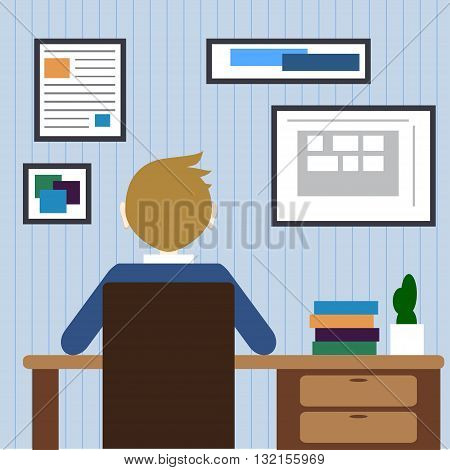 Flat design modern lifestyle concept of handsome man in casual T-shirt sitting at the desk and working on laptop in the office. on stylish background. Vector illustration