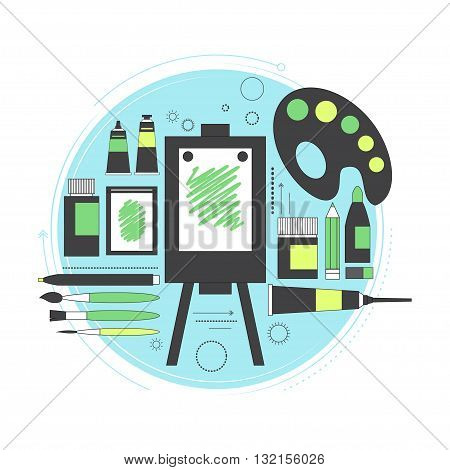 Creative set for artist. Ideas, creativity, design. Tools and materials paint, brushes, markers pencil easel palette. Line art. Vector illustration