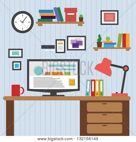 Flat design of modern office interior with designer desktop showing design application with interface icons and elements in minimalist style and color. Vector illustration