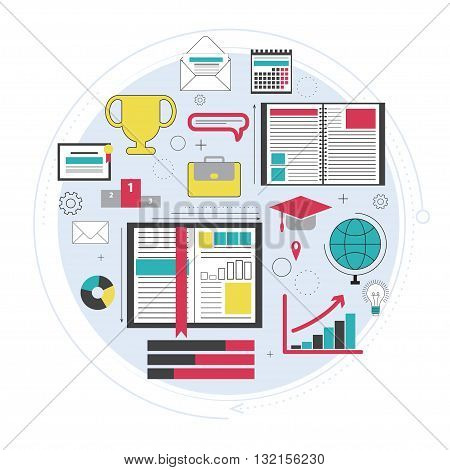 Distance education, online courses, brainstorm, knowledge growth, school and university subjects. Success and ideas, learn process. Line art. Vector illustration