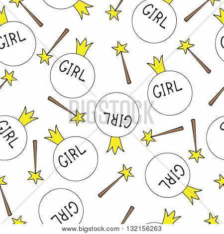 Seamless for girl with crown magic sticks. Seamless vector pattern for banner card invitation textile fabric wrapping paper.