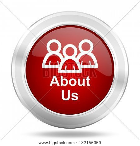 About Us icon. Red round glossy metallic button. Web and mobile app design illustration