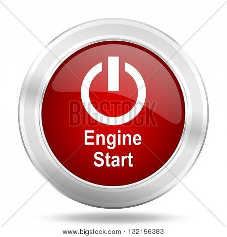 Engine start icon. Red round glossy metallic button. Web and mobile app design illustration