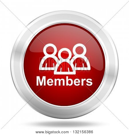 Members icon. Red round glossy metallic button. Web and mobile app design illustration