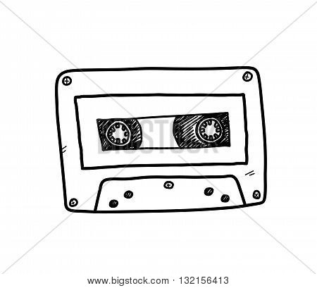 Audio Cassette, a hand drawn vector doodle illustration of an audio cassette.