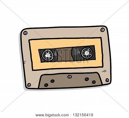 Cassette, a hand drawn vector illustration of an audio cassette.