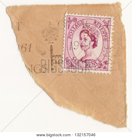UK CIRCA 1950:A stamp printed in United Kingdom shows image of Elizabeth II is the constitutional monarch of United Kingdom