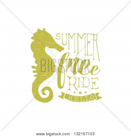Summer Holydays Vintage Emblem With Seahorse Creative Vector Design Stamp With Text Elements On White Background