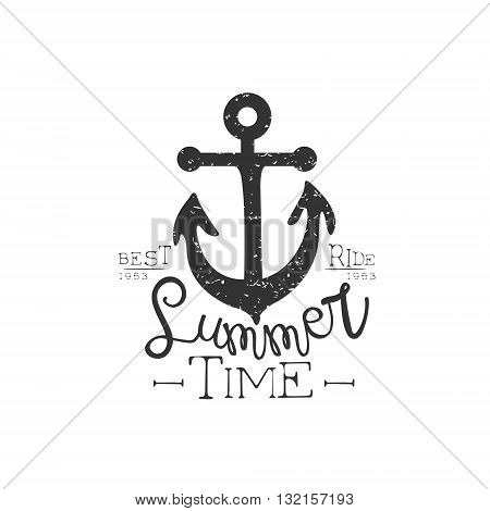 Summer Holydays Vintage Emblem With Anchor Creative Vector Design Stamp With Text Elements On White Background