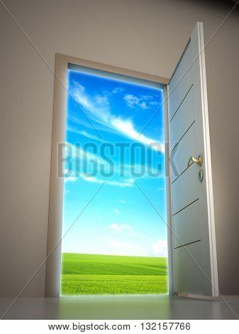 Door opening to blue sky background. 3D illustration.