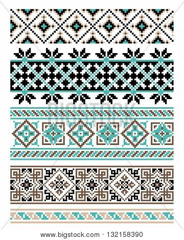 Ukrainian National ornament. Embroidered towels - a required element at every wedding, folk holidays and festivities, very trendy decor of contemporary Ukrainian fashion - vector, EPS8