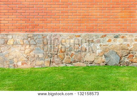 Triple Textured Background with Orange Brick Natural Stone and Bright Green Lawn