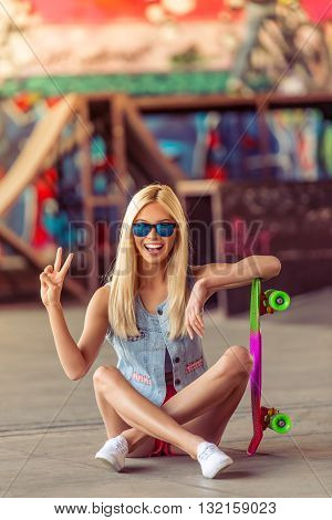 Beautiful Skateboarding Girl