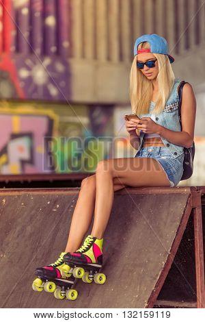 Roller Skater Girl With Gadget