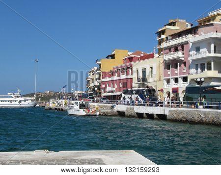 AGIOS NIKOLAOS, CRETE/GREECE - AUGUST 20, 2012: Port Town Agios Nikolaos, the Capital of the East of Crete Island