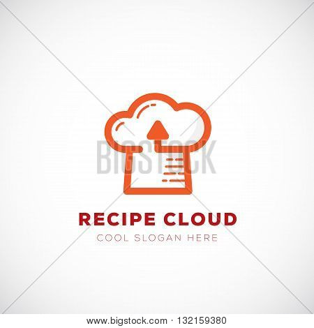 Recipe Cloud Abstract Vector Logo Template. Online Storage Technology Symbol and Cook Hat Sign with Modern Typography. Isolated.
