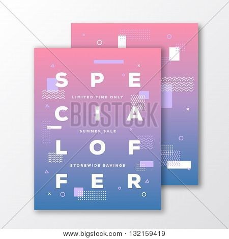 Sale Special Offer Poster, Card or Flyer Template. Modern Abstract Flat Swiss Style Background with Decorative Stripes and Creative Typography. Blue to Pink Gradient. Soft Realistic Shadows. Isolated.