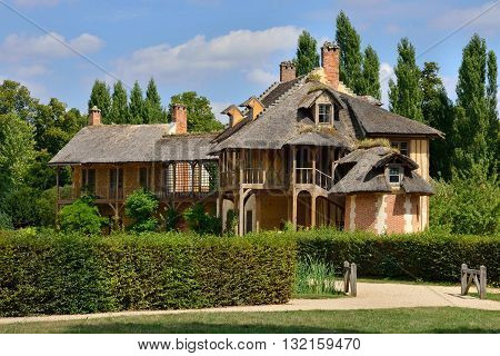 Versailles France - august 19 2015 : queen hamlet in the Marie Antoinette estate in the parc of Versailles Palace